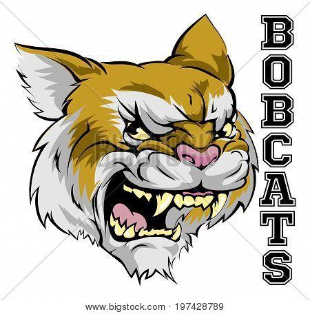 An illustration of a cartoon bobcat sports team mascot with the text Bobcats