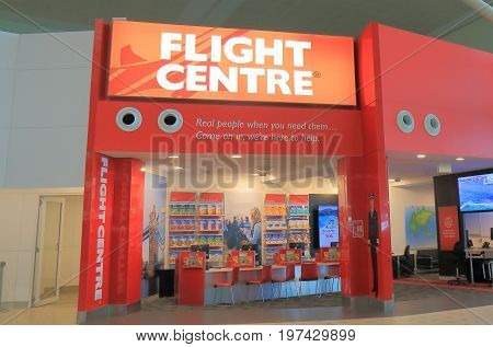 BRISBANE AUSTRALIA - JULY 10, 2017: Flight Centre at Brisbane airport. Flight Centre is an Australian based international travel company and the largest retail travel outlet in Australia.