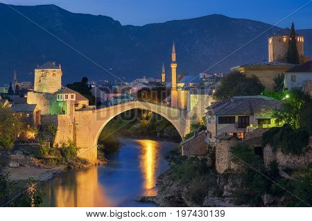 View of the mostar Bridge at Sunset Time