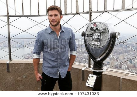 NEW YORK-APR 9: Actor Scott Eastwood visits The Empire State Building on April 9, 2015 in New York City