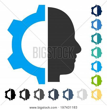 Cyborg Gear icon. Vector illustration style is flat iconic symbol in some color versions.