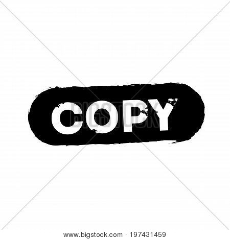 Copy Text rubber seal stamp watermark. Caption inside rectangular banner with grunge design and dust texture. Slanted vector red ink sign on a white background.
