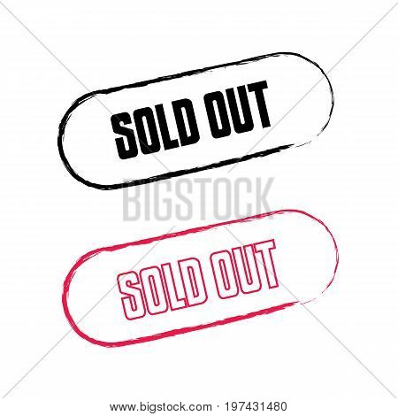Sold Out text rubber seal stamp watermark. Caption inside rounded rectangular banner with grunge design and dirty texture. Slanted vector red ink sticker on a white background.