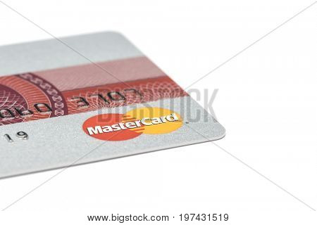 Ostersund, Sweden- July 29, 2017: Mastercard logo on a credit card. Mastercard is one of the biggest credit card companies.