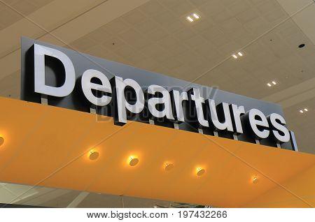 Airport departure gate sign in Brisbane Austrlia
