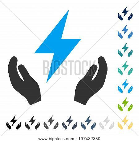 Electricity Maintenance Hands icon. Vector illustration style is flat iconic symbol in some color versions.