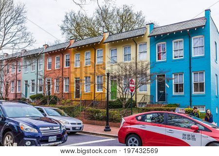 Washington Dc, Usa - March 20, 2017: Colorful Town Houses In Residential Area In Georgetown Neighbor