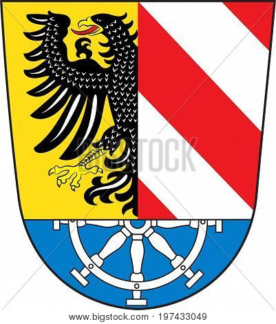 Coat of arms of Nuremberg Land in Bavaria of German. Vector illustration from the