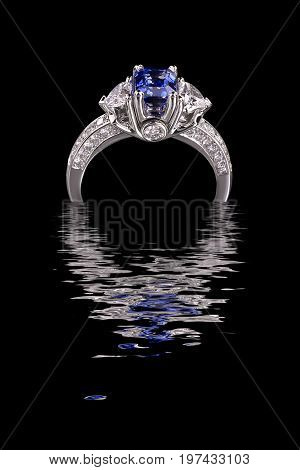 Beautiful ring with blue gem (stone) isolated on black background