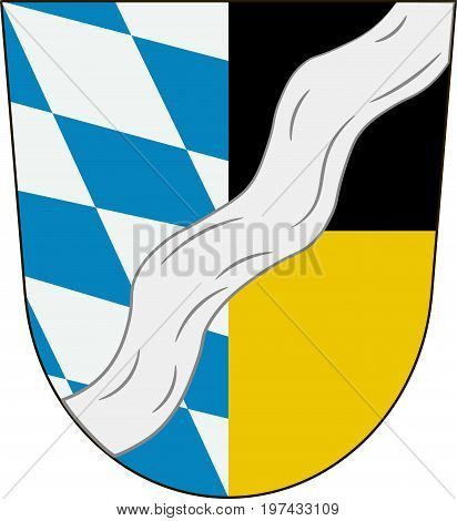 Coat of arms of Munich is a district in Bavaria Germany. Vector illustration from the
