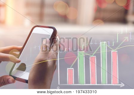 Business Economic And Technology Working Concept. Woman Using Smart Phone On Street Double Exposure