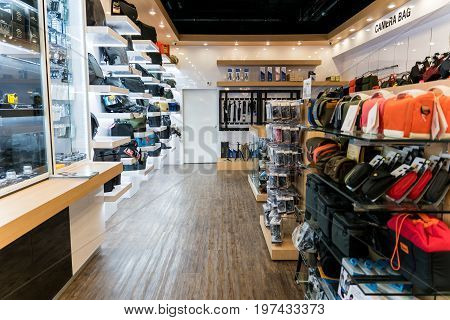 Central Department Store, Bangkok, Thailand - May 25, 2017: inside Camera Store with camera bag and camera accessories.