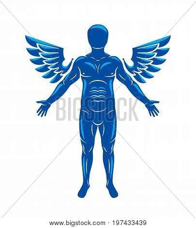 Athletic man vector illustration isolated on white. Guardian angel Holy Spirit concept.
