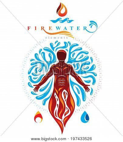 Vector illustration of human being standing mythic ancient god. Prometheus surrounded by a water ball water and fire diversity and harmony.