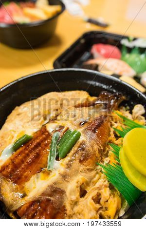 unagi donburi or eel bowl with rice and egg one of the famous Japanese food