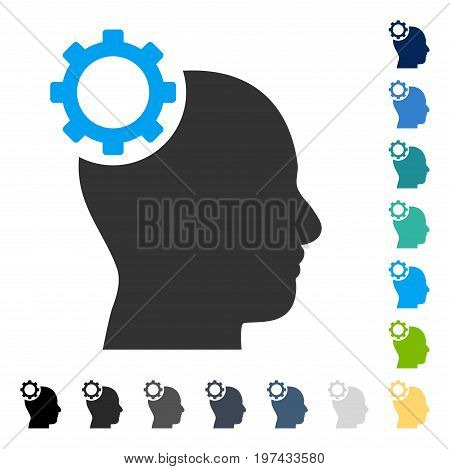 Intellect Gear icon. Vector illustration style is flat iconic symbol in some color versions.