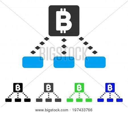 Bitcoin Cashout Scheme flat vector pictograph. Colored bitcoin cashout scheme gray black blue green pictogram versions. Flat icon style for web design.