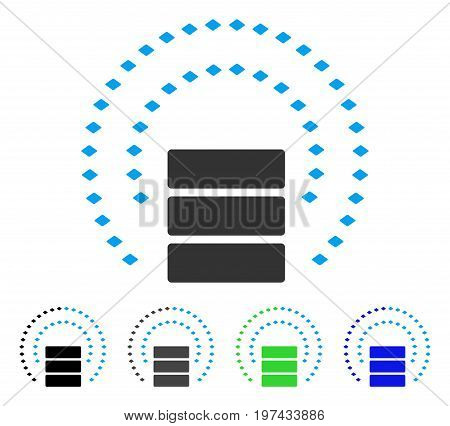 Database Sphere Shield flat vector pictogram. Colored database sphere shield gray black blue green pictogram versions. Flat icon style for web design.