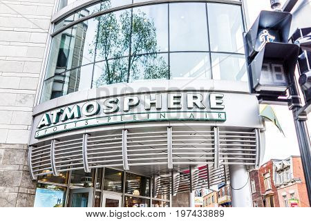 Montreal, Canada - May 26, 2017: Atmosphere Sports Store On Saint Denis Street In Montreal's Plateau