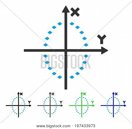 Dotted Ellipse Plot flat vector illustration. Colored dotted ellipse plot gray black blue green icon versions. Flat icon style for graphic design.