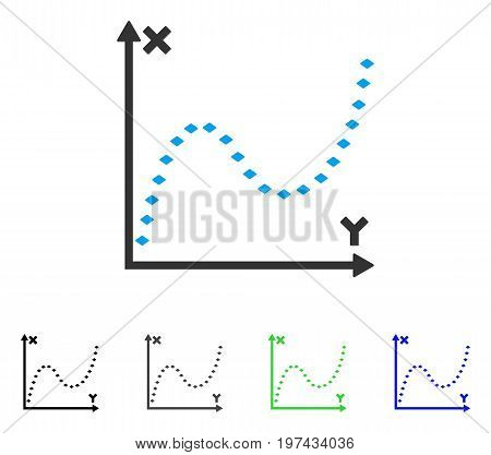 Dotted Function Graph flat vector icon. Colored dotted function graph gray black blue green icon variants. Flat icon style for graphic design.
