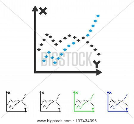 Dotted Functions Plot flat vector pictograph. Colored dotted functions plot gray black blue green pictogram versions. Flat icon style for application design.