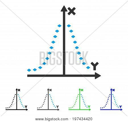 Dotted Gauss Plot flat vector pictogram. Colored dotted gauss plot gray black blue green pictogram variants. Flat icon style for graphic design.