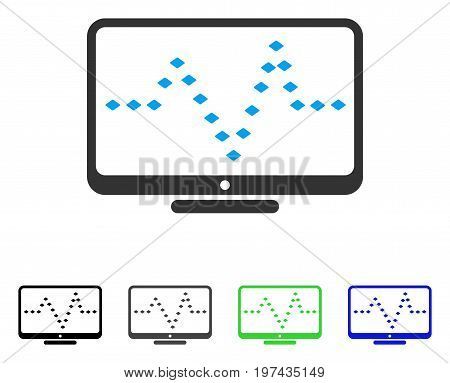 Monitor Dotted Pulse flat vector pictogram. Colored monitor dotted pulse gray black blue green pictogram versions. Flat icon style for application design.