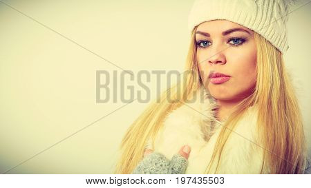 Woman Wearing Warm Winter Clothing
