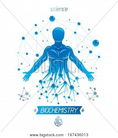 Athletic man vector illustration made using futuristic molecular connections. Human as the object of biochemistry research genetic engineering.