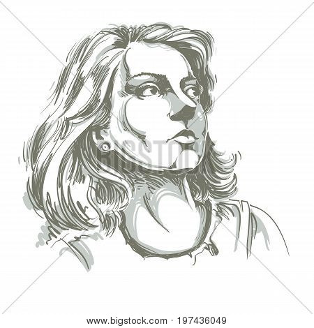 Graphic vector hand-drawn illustration of white skin attractive romantic lady with stylish haircut. People face expressions. Dreamy model posing for portrait.