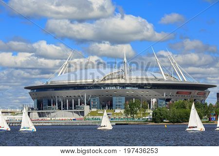 SAINT PETERSBURG/ RUSSIA - JULY 2, 2017. Krestovsky Stadium, also called Zenit Arena - a football stadium, which was opened in 2017 for the FIFA Confederations Cup in Saint Petersburg, Russia