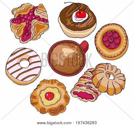 Pastry and Coffee, hand drawn illustration, with doughnuts, puff pastry square, strudel and shell cakes