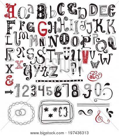 Whimsical Alphabet, Numbers and Special Character Glyphs - Playful sets of two full typefaces, including numbers, question and exclamation mark and keyboard characters