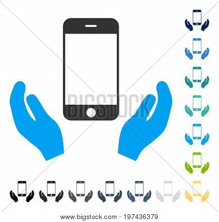 Smartphone Care Hands icon. Vector illustration style is flat iconic symbol in some color versions.