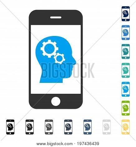 Smartphone Intellect Gears icon. Vector illustration style is flat iconic symbol in some color versions.