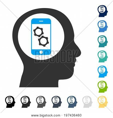 Smartphone Mind Control icon. Vector illustration style is flat iconic symbol in some color versions.