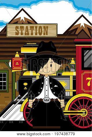 Mini Cowboy At Train Station