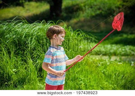 Adorable Caucasian Kid Playing With Scoop-net On The Meadow On Warm And Sunny Summer Or Spring Day.
