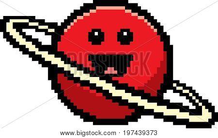Smiling 8-bit Cartoon Planet