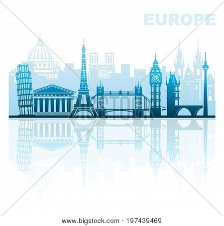 Abstract urban landscape with architectural sights of Europe