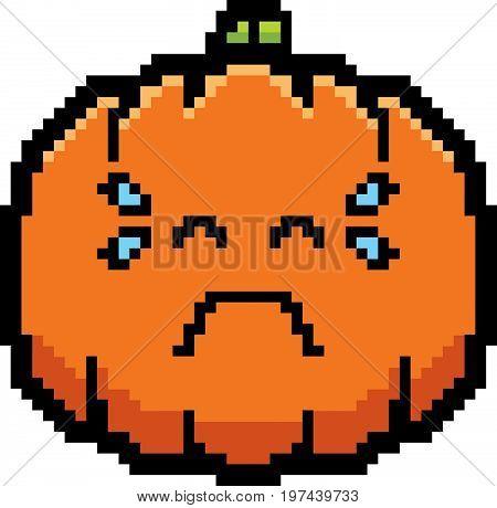 Crying 8-bit Cartoon Pumpkin