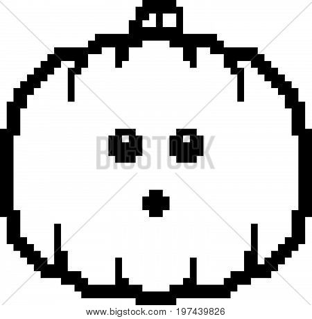 Surprised 8-bit Cartoon Pumpkin