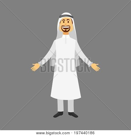 Elegant People-Arab-Businessman.Cartoon images set of arab man in traditional arabic clothing isolated vector illustration