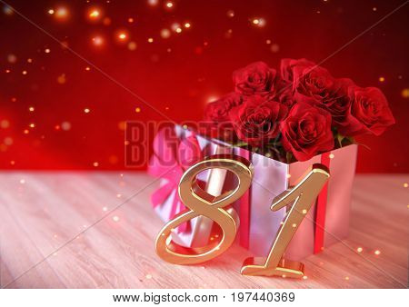 birthday concept with red roses in gift on wooden desk. 3D render - eighty-first birthday. 81st