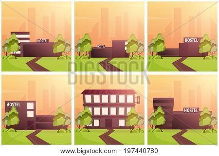 Set Banners Of Hostel Building. Guest House. Hotel Building. Travel.