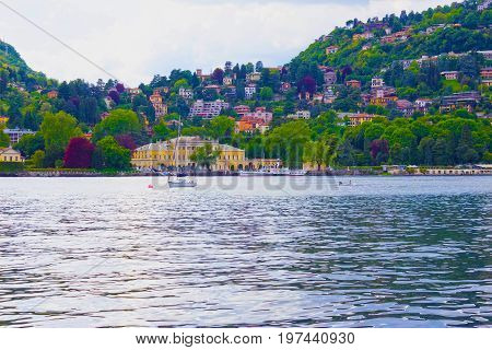 The view of Como lake at Bellagio at Italy.