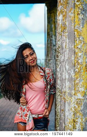 Beautiful Asian woman Young Asian girl portrait smiling. summer hiking in the mountain park tagaytay Philippines