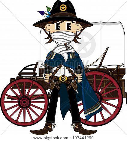 Masked Cute Cowboy & Wagon.eps