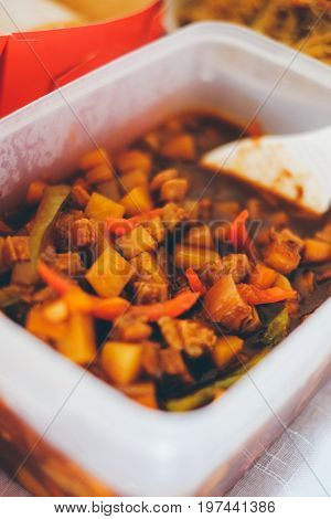 Menudo filipino food pork meat and vegetables with tomato sauce. Philippine traditional food